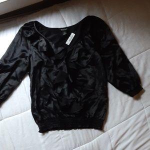 Black Ruffle Silk Blouse